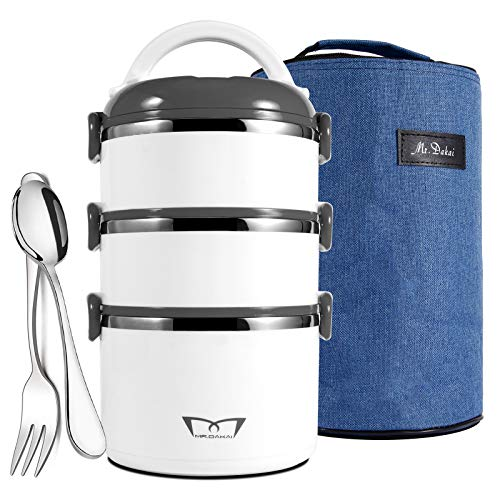 MrDakai Stackable Stainless Steel Thermal Compartment LunchSnack Box 3-Tier Insulated Bento BoxFood Storage Container with Lunch Bag Fork Spoon BPA free for Adults Men Women White Gray