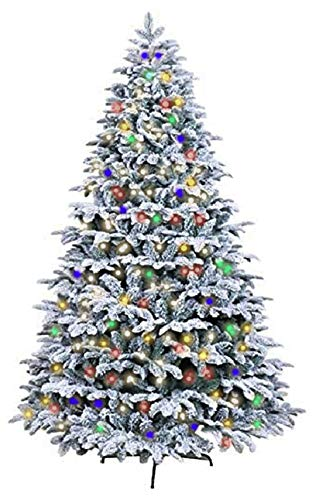 MIERES 7.5ft Pre-Lit Christmas Tree, Snow Flocked Hinged Artificial X'Mas Tree | Includes Pre-Strung Multi-Color 400 LED Lights | 2,560 Branch Tips | Foldable Metal Stand, Holiday Decor, Green/White
