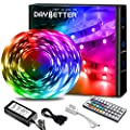 DAYBETTER Led Lights 32.8ft with 44 Keys IR Remote and 12V Power Supply Flexible Color Changing Lights 5050 RGB 300 LEDs Light Strips for Bedroom, Ceiling, Kitchen, Home Decoration