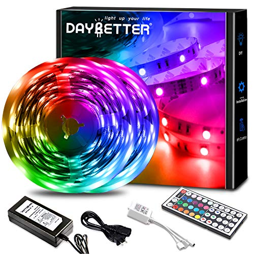 DAYBETTER Led Lights 32.8ft with 44 Keys IR Remote and 12V Power Supply Flexible Color Changing Lights 5050 RGB LED Light Strips for Bedroom, Ceiling, Kitchen, Home Decoration