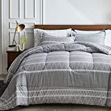 Joyreap 7 Piece Bed in a Bag Full/Queen, Triangle Stripes on Gray Design, Smooth Soft Microfiber Comforter Set for All Season (1 Comforter, 2 Pillow Shams, 1 Flat Sheet, 1 Fitted Sheet, 2 Pillowcases)