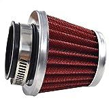 AHL 3 x 42mm Hohe leistung Luftfilter 42mm Motorrad Luftfilter Clamp Gummi Sportluftfilter Rot