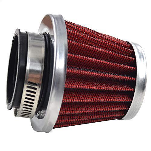 AHL 1 x 42mm Hohe leistung Luftfilter 42mm Motorrad Luftfilter Clamp Gummi Sportluftfilter Rot