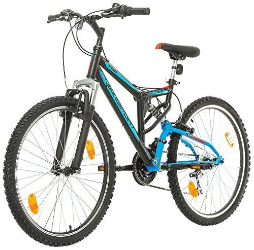 Fahrrad MTB Mountainbike Fully Full Suspension 26 Zoll Bikesport PARALLAX Shimano 18 Gang (Schwarz Blau) - 5