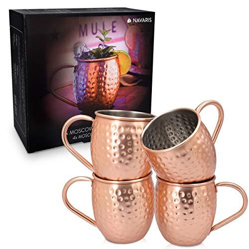 Navaris 4X Taza de Cobre para Moscow Mule - Set de jarras de Acero Inoxidable Chapado en Cobre de 500 ML - Tazas para Bebidas frías Cerveza cócteles