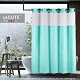 Lagute SnapHook TrueColor Hook Free Shower Curtain | Removable Liner | See Through Top | Machine Washable | Turquoise