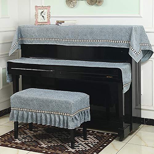 Dhl Piano dons, half opening, eenvoudig toetsenbord, stofbescherming, kruk, afdekking, Full set (double), Lichtblauw.