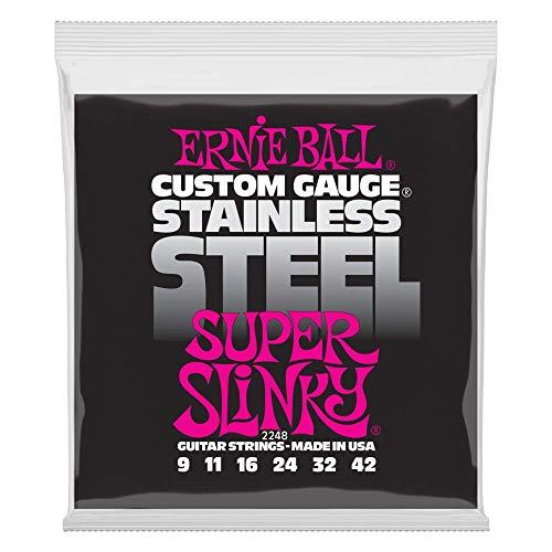 Cordes pour guitare électrique Ernie Ball Super Slinky en acier inoxydable - calibre 9-42