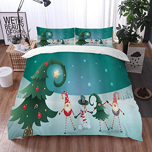 Mingdao bedding - Duvet Cover Set, Elf Friendly Holiday Celebration Theme Winter Scene Christmas with Funky Gnomes,Microfibre Duvet Cover Set 200 x 200 cmwith 2 Pillowcase 50 X 80cm