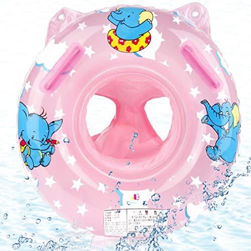O-Kinee Baby Schwimmring, Rosa Elefantenschwimmring Baby Schwimmhilfe mit Schwimmsitz PVC Swim Ring für Babyschwimmreifen ab 6 Monate