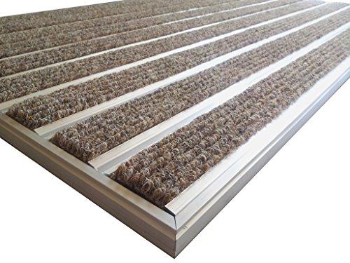 Sistema profesional de felpudo de entrada de aluminio HD60, tamaño 110 x 68 cm, para empotrar la instalación en la alfombrilla, incluye marco Matwell, beige