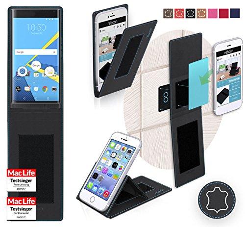reboon Hülle für BlackBerry Priv Tasche Cover Case Bumper   Schwarz Leder   Testsieger