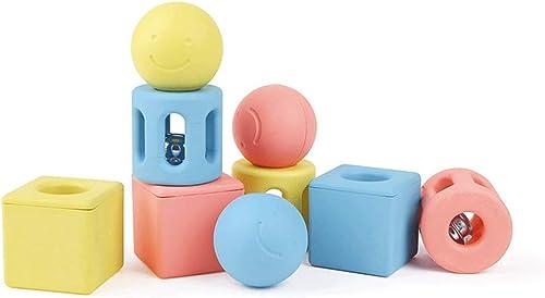 LIUFS-Spielzeug Geometrische Geklapper-Spielzeugkombination, die die Bl e der Kinder fasst (Farbe   Bunte, Größe   A)