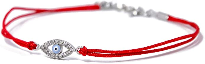 SUPER ELEGANT Sterling Silver and Crystals Evil Eye Charm on Red String Bracelet for Protection - Women Size 7 Inch