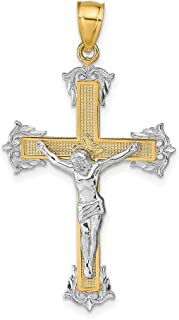 Details about  /14K Two Tone Gold Polished INRI Rounded Crucifix Charm Pendant MSRP $206