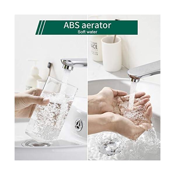 AiHom Grifo de Lavabo para Baño Grifo Monomando Grifo de Cuenca Cromado Agua Fria y Caliente con Aireador ABS…