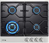 🎁【Black Tempered Glass Finish】The 4-burner built in gas stovetop is made of high quality black tempered glass with 2 heavy cast iron pan support grates, 4 melt-proof bakelite knobs and black burner covers. It is very easy to clean after cooking. The ...