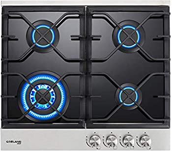 24  Built-in Gas Cooktop GASLAND Chef GH60BF 4 Burner Gas Hob 24 Inch NG/LPG Convertible Natural Gas Propane Cooktops 4 Burner Gas Stovetop with Thermocouple Protection Black Tempered Glass