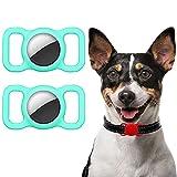 Ztowoto Custodia in silicone compatibile con collare per animali domestici Airtag, custodia protettiva Airtag per collare per cani e gatti 2 PCS (2-verde menta)