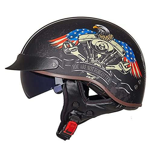 WUHX Casco de Cara Abierta Motocicleta Transpirable Motocicleta Casco Motocicleta Half Cascos con Visera Sun Vintage Harley Cascos Removibles 3/4 Helmet Jet Style Casco,4,L
