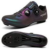 BETOOSEN Breathable Road Bike Cycling Shoes MTB Spin Bicycle Shoes Mens Womens with Quick lace Self-Locking Compatible SPD Cleats (9 M US Women/7.5 M US Men, Multicolor1)