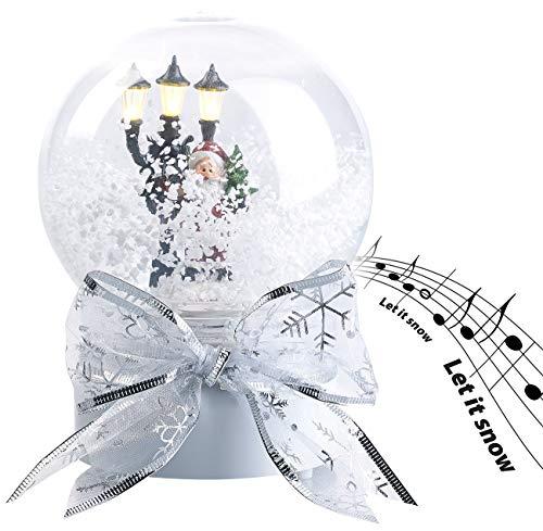 infactory Schneekugeln: Schneekugel mit singendem Weihnachtsmann, berührungsaktiv, LED-Laterne (Glaskugel)
