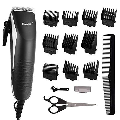 Schnurgebundener Haarschneider Set,Ckeyin Haarschneidemaschine Profi in R-Form Handliches Haarschnitt Elektrischer Rasierer-Pflegeset mit 10 Limit-Kämmen für Erwachsene und Kinder