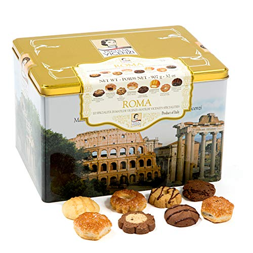 Matilde Vicenzi Roma Gift Tin | Assortment of Patisseries, Pastries, Cookies | Made in Italy | 32oz...