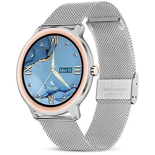 GOKOO Smartwatch Damen Silber IP67 wasserabweisend Fitness Tracker Smart Watch Frauen Elegant Sportuhr mit Pulsmesser Fitness Armbanduhr Schlafmonitor Kalorien Fitnessuhr für Android iOS