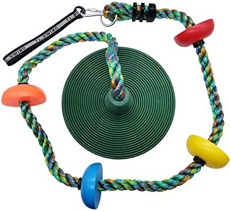 Xinlinke Tree Swing Multicolor Climbing Rope with Platforms Kids Disc Swings Seat Set Outdoor product image