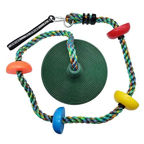 Xinlinke Tree Swing Multicolor Climbing Rope with Platforms Kids Disc Swings Seat Set Outdoor Backyard Playset Accessories