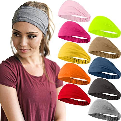 10 Stücke Breit Stirnband Einfarbig Boho Yoga Haarband Elastisch Dehnbar Weich Schweißband Haar Stirnbänder Zubehör für Frauen und Mädchen (Multi Frische Farbe)