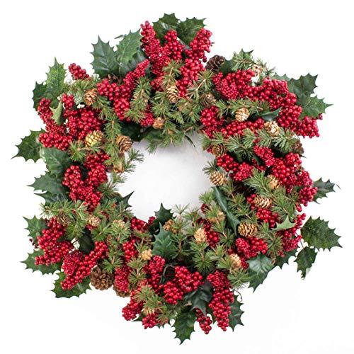 artplants.de Künstlicher Beerenkranz mit Ilex und Tannenzapfen, rot, Ø 50cm - Deko Kranz - Weihnachts Türkranz