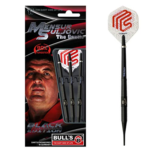 Bull's Mensur Suljovic Soft Dart, Black Edition, Tungsten 18g, Silber