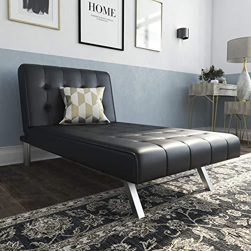 DHP Emily Chaise Lounger With Chrome Legs, Black Faux Leather