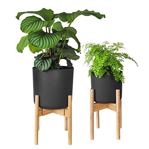 Gadgy Blumenständer Holz | Set 2 Stück Bambus Pflanzenständer | Verstellbare Blumentopf Ständer für Blumentopf bis Ø 30 cm.