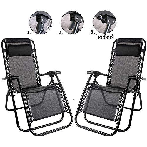 ZRXRY Set de 2 sillas de Altas Prestaciones Gravedad Cero Silla de Playa Tumbona reclinable para la...