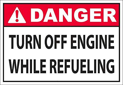 Yilooom - Pegatina de Advertencia para Coche con Texto en inglés Turn Off Engine While Refueling, 17,8 x 25,4 cm