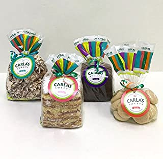 Carla's Sweets Assortment 17 ( 1 Guava Cake, 1 Cookies & Cream Meringue, 1 Brownie, 1 Mantecadito Bags)