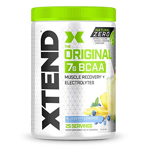 XTEND Natural Zero BCAA Powder Blueberry Lemonade | Free of Artificial Sweeteners, Flavors, and Chemical Dyes | Post Workout Drink with Amino Acids | 7g BCAAs for Men & Women | 25 Servings
