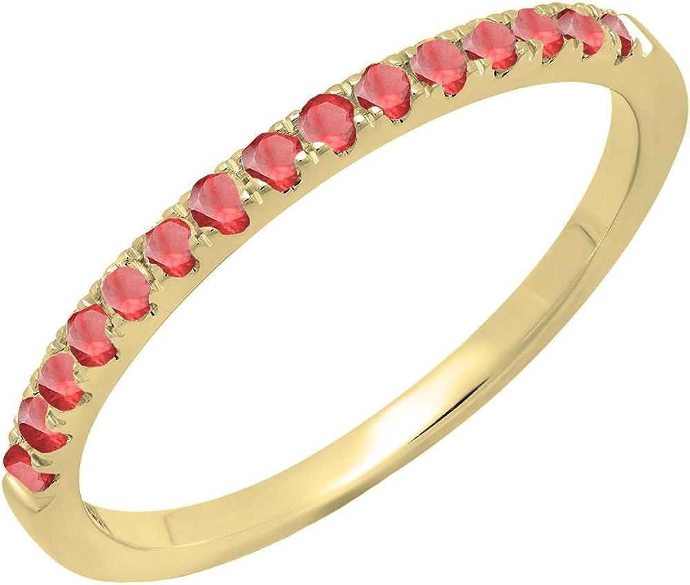 Dazzlingrock Collection 14K Round Gemstone Ladies Bridal Stackable Wedding Band 1/4 CT, Yellow Gold