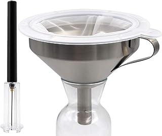 PROBEEALLYU Filtre à vin entonnoir en acier inoxydable avec filtre, tire-bouchon à pompe à air comprimé