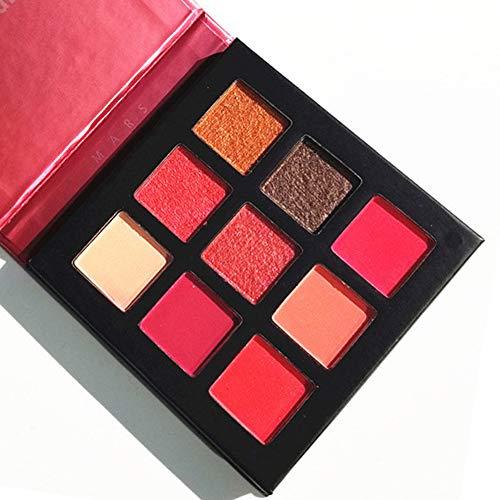 Pressed Eyeshadow Palette,ROMANTIC BEAR Kit de mini fard à paupières professionnel de palette de maquillage métallisé scintillant de 9 couleurs (Rouge)