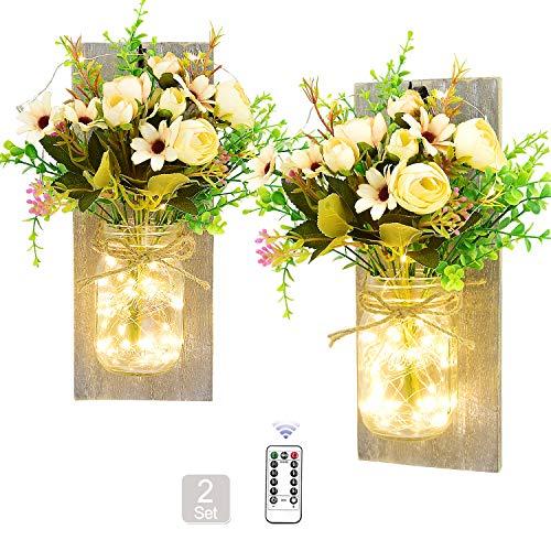 Lejorain Mason Jar LED Lichterkette, Wandleuchte Licht mit künstlicher Blume Holz-Dekoration, Rustikale Wandlampe String Licht für Halloween, Weihnachtsdeko, Schlafzimmer Wand Dekoration (2 Stück)