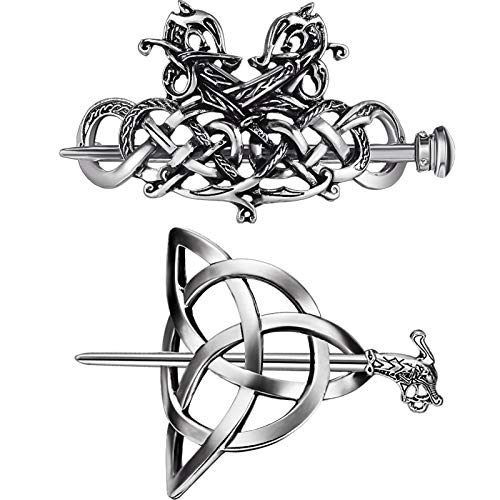 2 Pieces Retro Silver Viking Celtic Hair Clips Hairpins Hair Sticks Celtic Hair Slide Pin Viking Knot Hair Accessories Celtic Knot Viking Jewelry for Women and Ladies