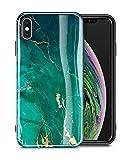 GVIEWIN Marble iPhone Xs Case/iPhone X Case, Ultra Slim Thin Glossy Soft TPU Rubber Gel Phone Case Cover Compatible iPhone X/iPhone Xs 2018, 5.8'(Green/Gold)
