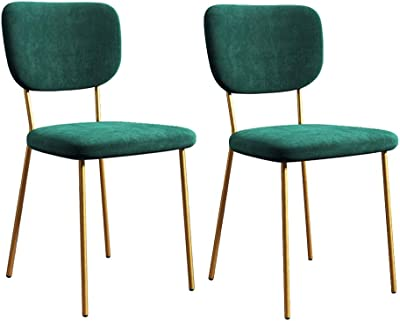 Chair Dining Chairs Set of 2, Anti-Dirty PU Leather/Velvet Side Chairs Modern Kitchen Room Chairs Upholstered with Sturdy Gold Metal Legs (Color : Velvet, Size : 6)