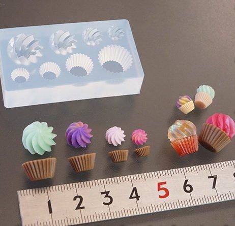 〈UVクラフトレジン〉 (S433)シリコンモールド クリーム カップケーキ お菓子 スイーツ 立体 4サイズ