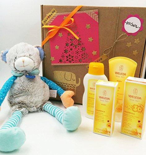 Cadeau pour Nonati avec 4 produits de la ligne BIO Calendula et avec une peluche Large Doudou et Compagnie (40 cm) | Idée de cadeau de douche de bébé | Version masculine