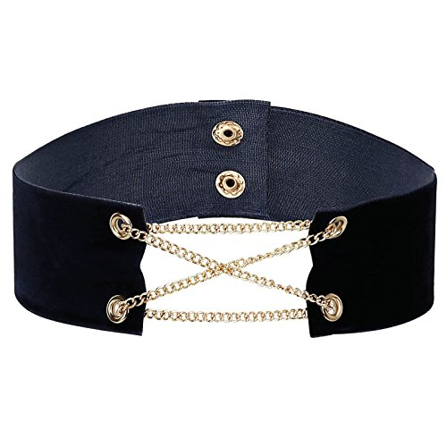 KnSam Collar Necklaces, Alloy Comfort Fit Velvet with Chain Gold Blue